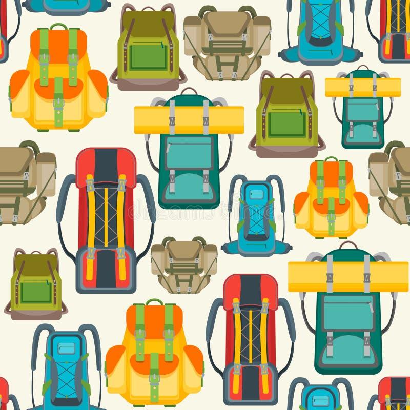 Turystyczny Campingowy plecaka tła wzór wektor ilustracji