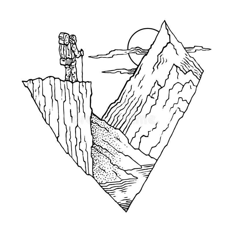 Turystyczny góry słońce royalty ilustracja