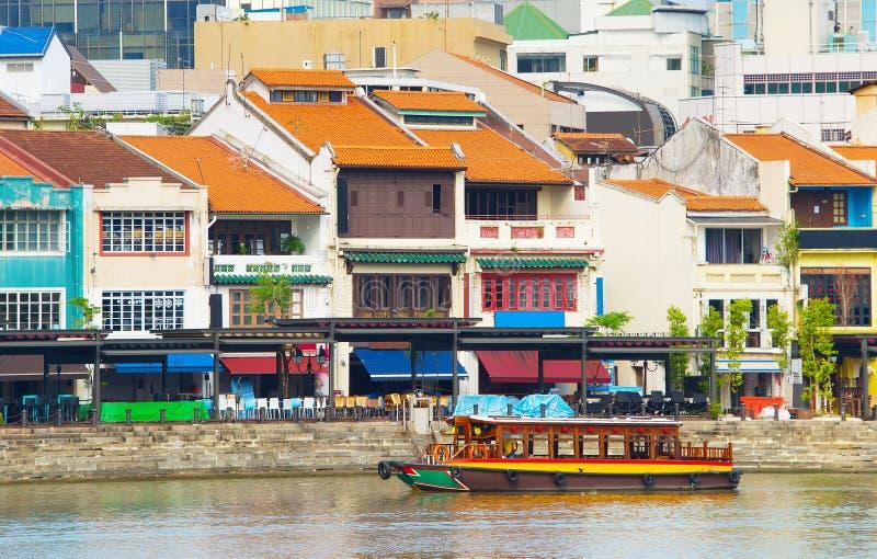 Turystyczny gromadzki Łódkowaty Quay, Singapur obrazy royalty free