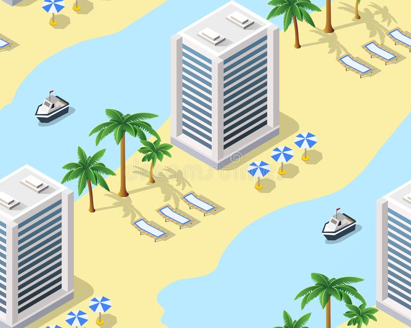 Turystyczny hotel turystyczny plaża bez szwu tło royalty ilustracja