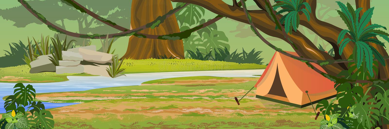 Turystyczny namiot w dżungli Tropikalna lasowa rzeka royalty ilustracja