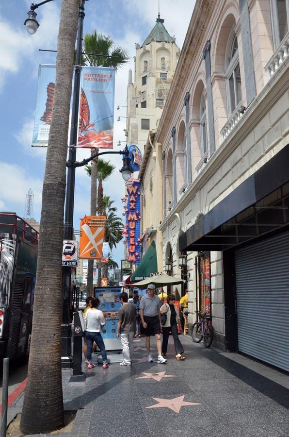 Turystyczny wizyty Hollywood bulwar w Los Angeles Kalifornia obraz royalty free