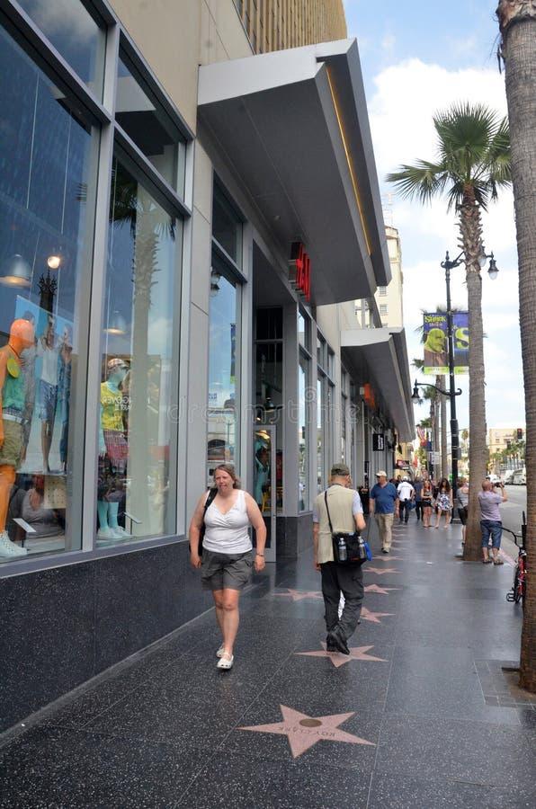 Turystyczny wizyty Hollywood bulwar w Los Angeles Kalifornia fotografia royalty free