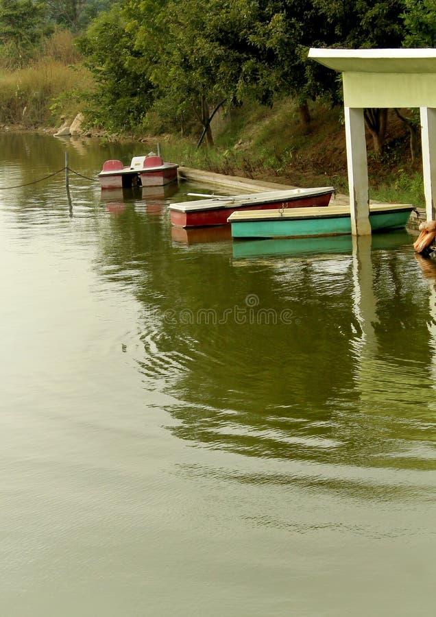 Turystyczny wodniactwo dom w jeziorze przy sittanavasal jamy świątyni kompleksem fotografia royalty free
