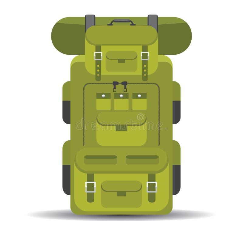 Turystyczny wycieczkowicza plecaka mieszkanie i minimalna projekt ikona royalty ilustracja