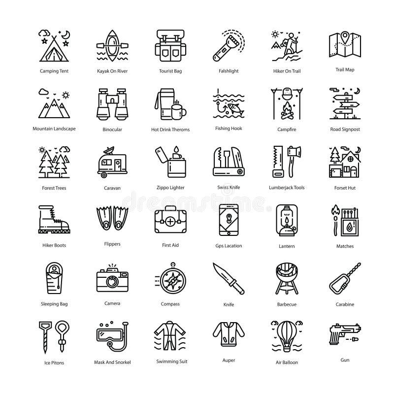 Turystyk ikon kreskowa paczka ilustracji