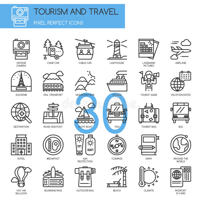 TURYSTYKA I podróż, cieniejemy kreskowe ikony ustawiać ilustracja wektor