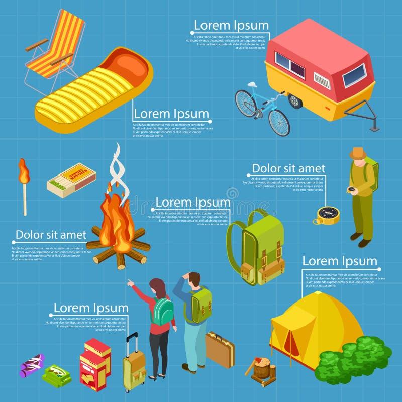 Turystyka, obozuje isometric wektorowej informacji sztandaru szablon royalty ilustracja