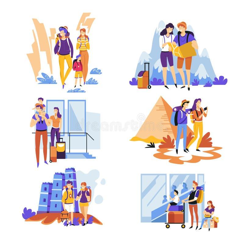 Turystyka podróżuje pary, rodzina wakacje i wakacje za granicą lub royalty ilustracja
