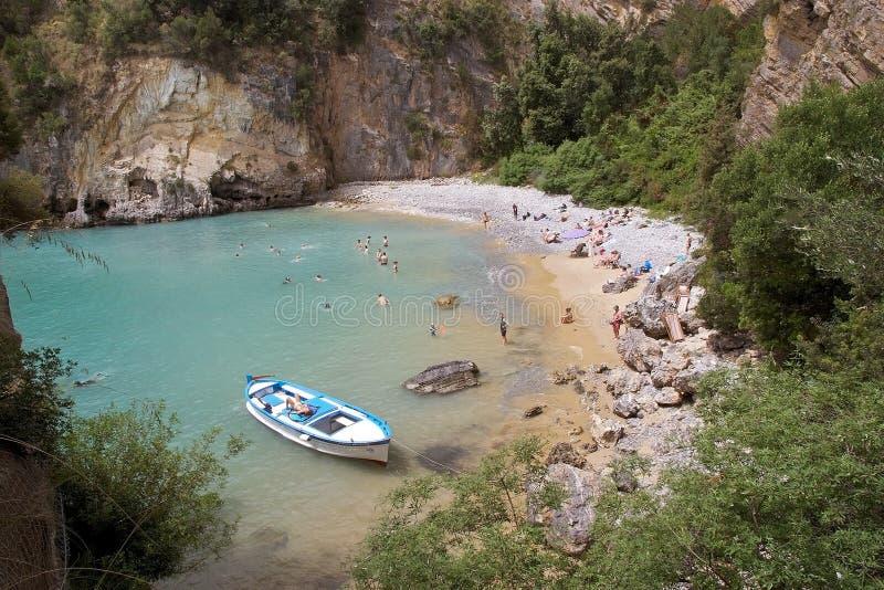 Turystyka przy przylądkiem Palinuro, Włochy zdjęcia royalty free