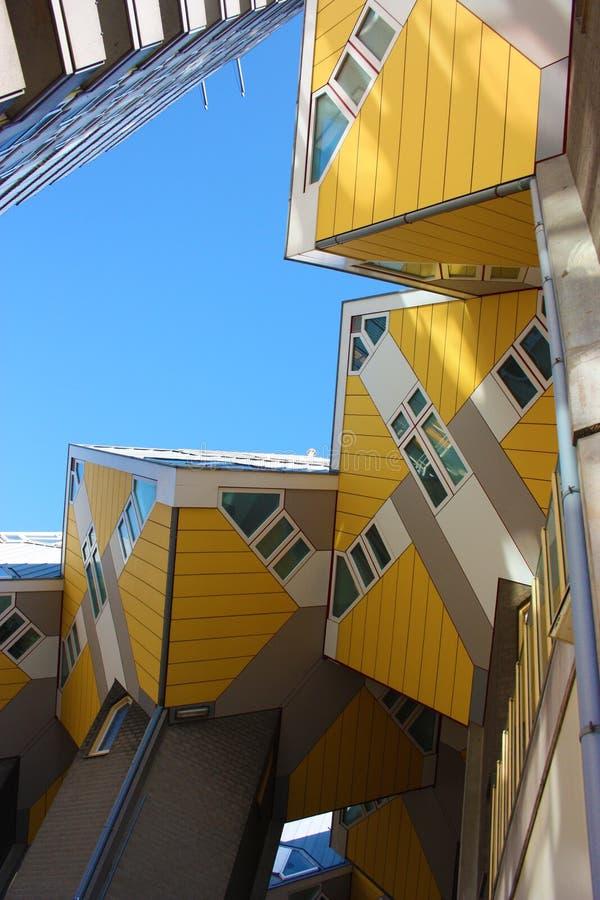 Turystyka wśród kubicznych domów Rotterdam obraz stock