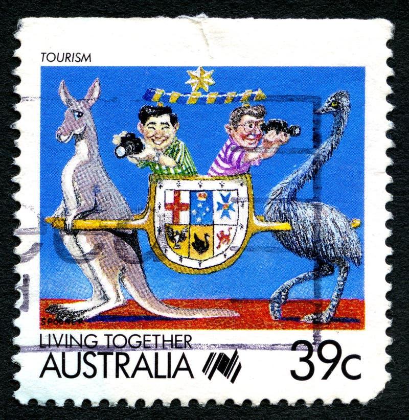 Turystyka w Australia znaczku pocztowym fotografia royalty free