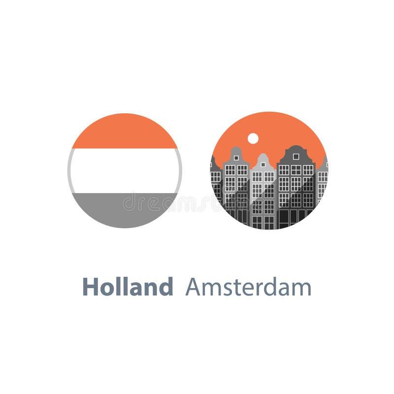 Turystyka w Europa, Holandia podróży miejsce przeznaczenia, Amsterdam domy rząd, pejzaż miejski, miastowa architektura, sąsiedztw ilustracji