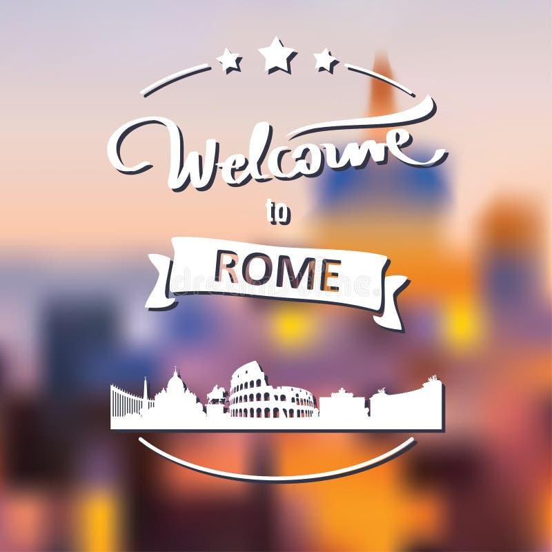 Turystyki etykietka z linia horyzontu, teksta powitanie Rzym ilustracja wektor
