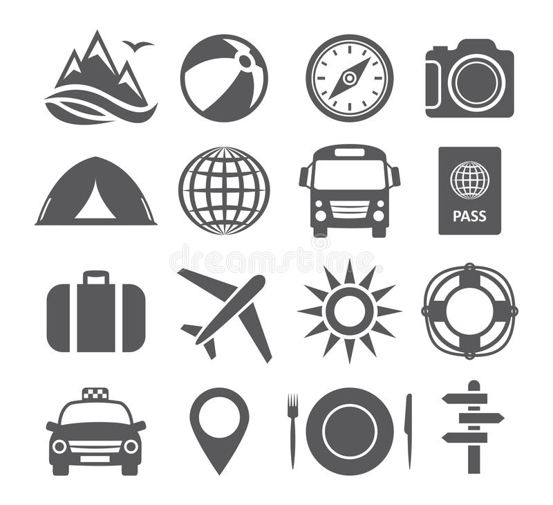 Turystyki i podróży ikony ilustracja wektor