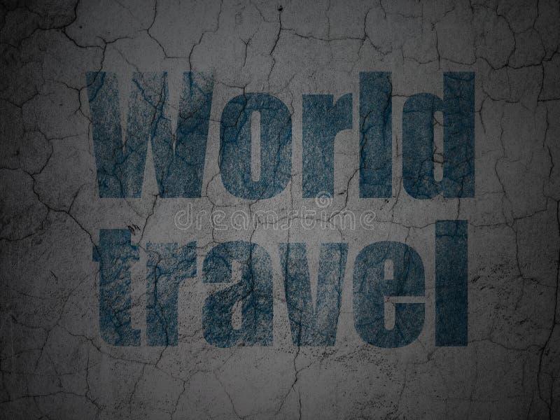 Turystyki pojęcie: Światowa podróż na grunge ściany tle ilustracja wektor