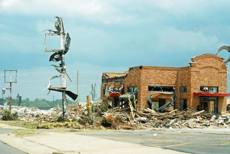 Tuscaloosa龙卷风破坏 库存图片