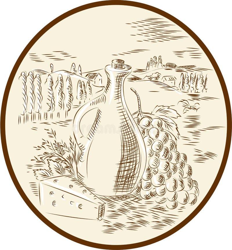 Tuscan επαρχία χαρακτική τυριών βάζων ελαιολάδου απεικόνιση αποθεμάτων