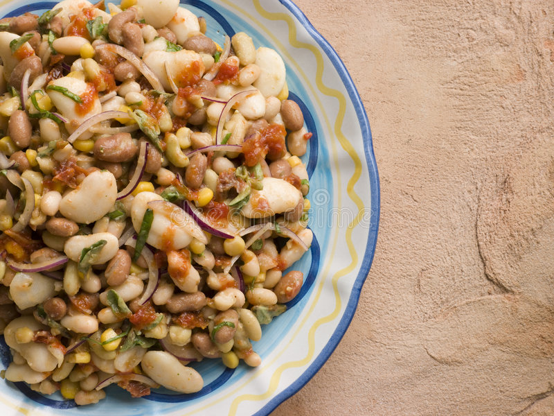 Tuscan Bean Salad. Plate of Tuscan Bean Salad stock images