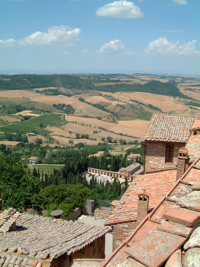 Tuscan hilltop town. Tuscan landscape royalty free stock image