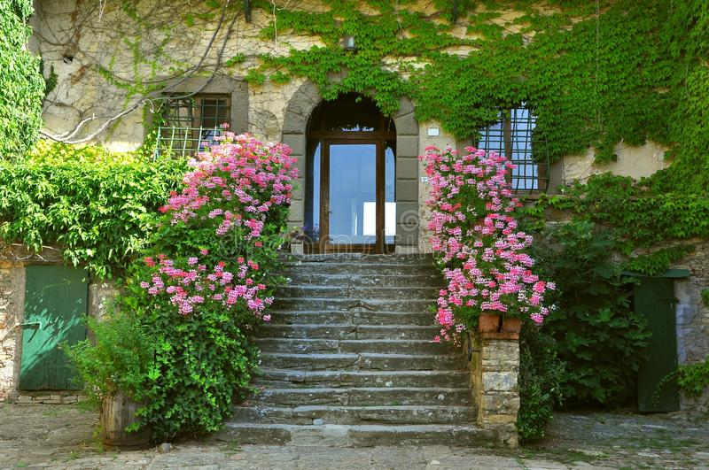 Typical Tuscan house, villa, mansion in Italy. Typical Tuscan villa with pink flowers and green leaves on a summer day. Italian mansion entrance stock photo