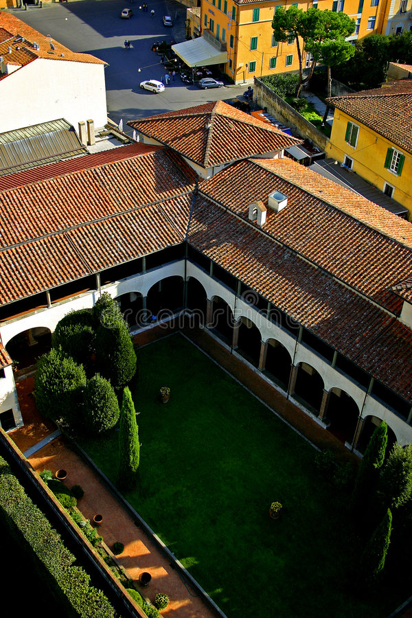 Tuscan Internal Yard. An internal yard of a Tuscan villa, taken from a high point. Italy royalty free stock photo