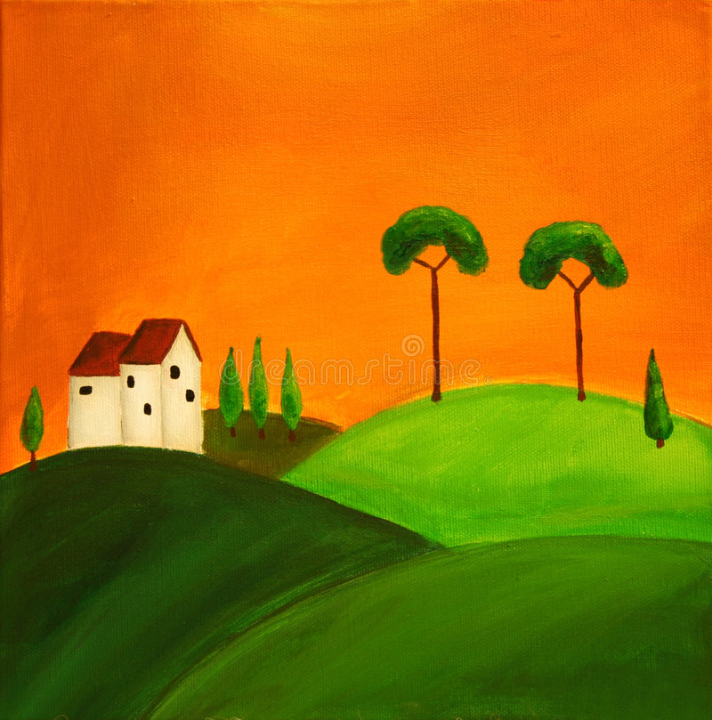 Tuscan landscape 1. Painted tuscan landscape in folkart style vector illustration