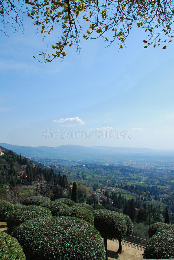 Tuscan Landscape. A beautiful green Tuscan Landscape of trees and rolling hills. Photograph taken at Fiesole royalty free stock photography