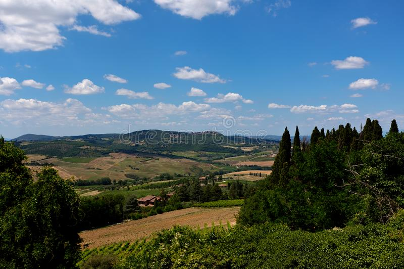 Landscape Montepulciano, Tuscany, Toscana, Italy, Italia. Tuscan landscape of the countryside with trees and fields seen from the city of Montepulciano in royalty free stock photo