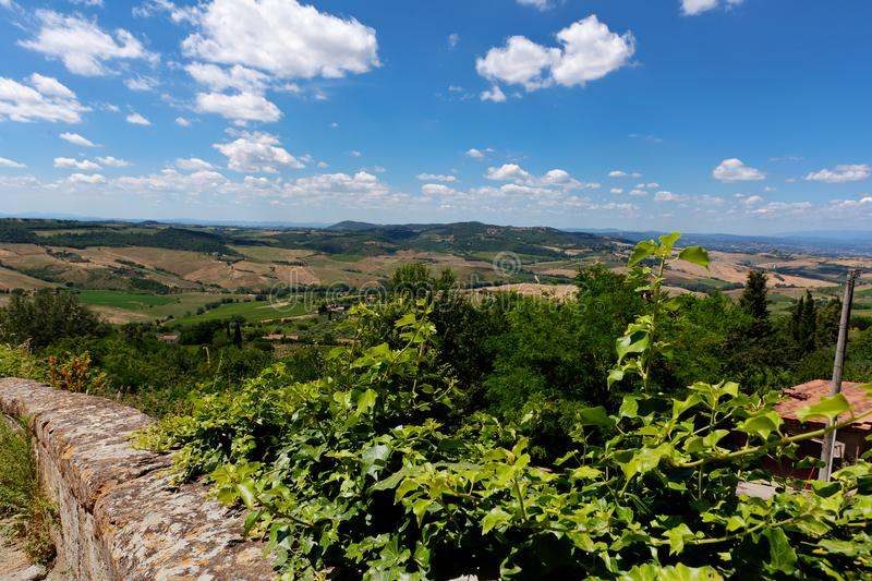 Landscape Montepulciano, Tuscany, Toscana, Italy, Italia. Tuscan landscape of the countryside with trees and fields seen from the city of Montepulciano in stock image