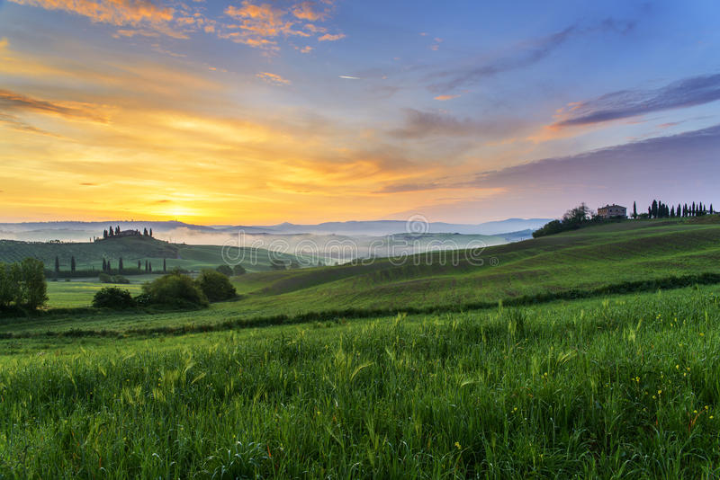 Tuscan landscape at dawn. A beautiful tuscan landscape at dawn royalty free stock photography