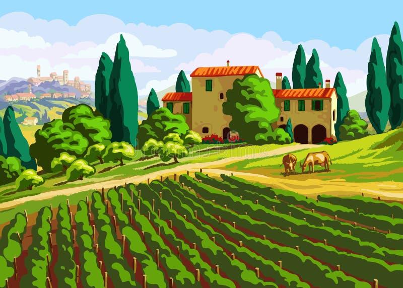 Tuscan landskap med villan royaltyfri illustrationer