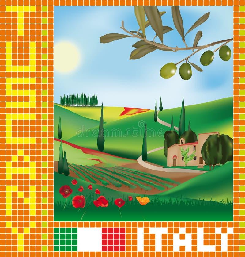 Tuscan mosaik 1 royaltyfri illustrationer