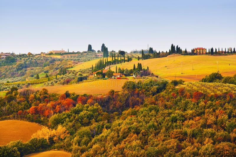 Tuscan pastoral rolling hills landscape in the fall stock photos