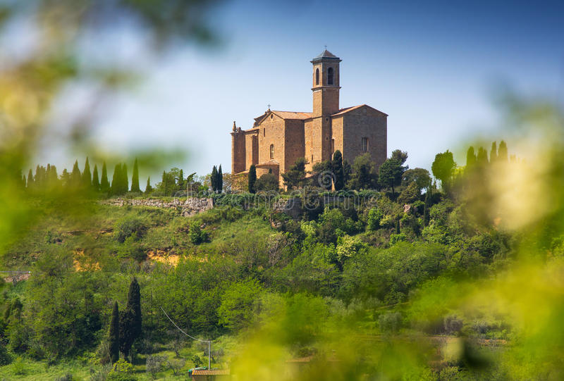 Tuscan rural landscape with church royalty free stock image