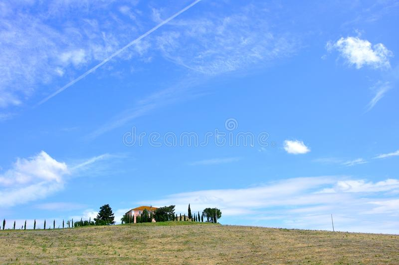 Tuscan summer sky and landscape , Italy royalty free stock images
