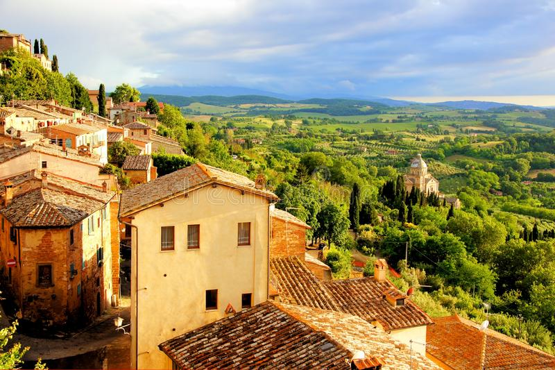 Download Tuscan town at sunset stock image. Image of afternoon - 38736669