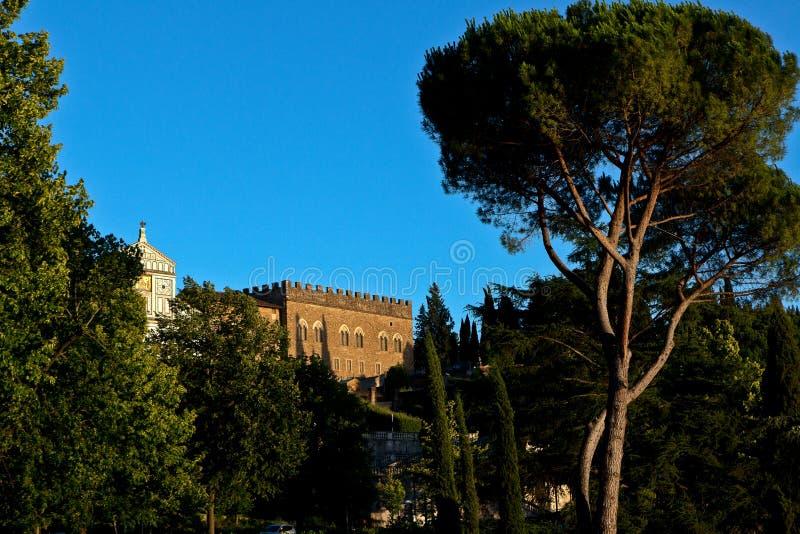Tuscan trees San Miniato al Monte, Florence, Italy royalty free stock photo