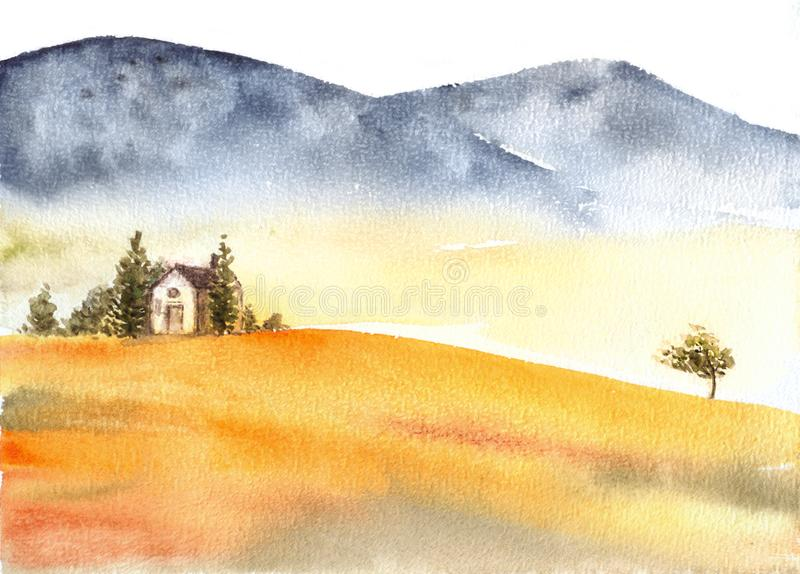 Tuscan villa and distant mountains landscape watercolor painting. Great for greeting cards or texture design or decoration royalty free stock photography