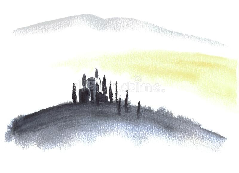 Tuscan villa and hills minimalistic landscape watercolor painting. Great for greeting cards or texture design or decoration stock images