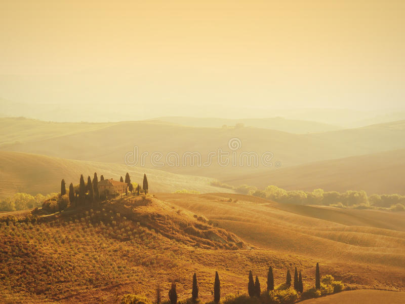 Tuscan villa sunrise stock photo