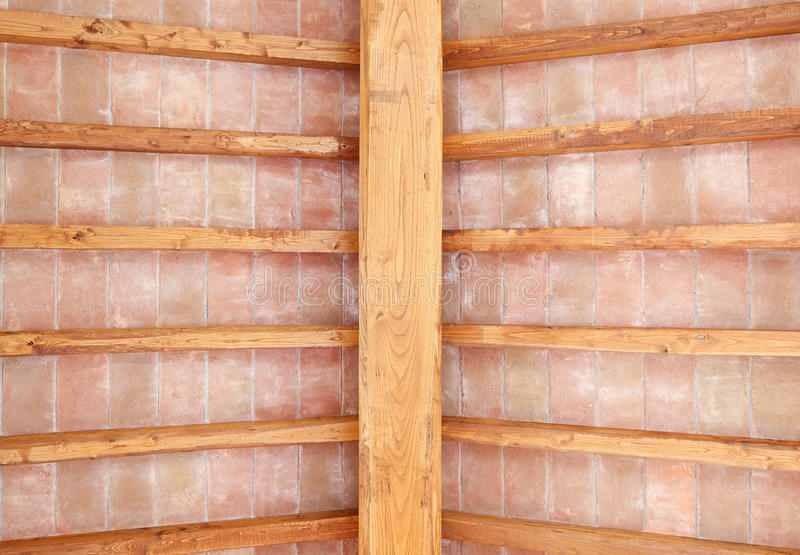 Tuscan Wood Beam Ceiling Red Bricks Pattern. Italy Stock Photography