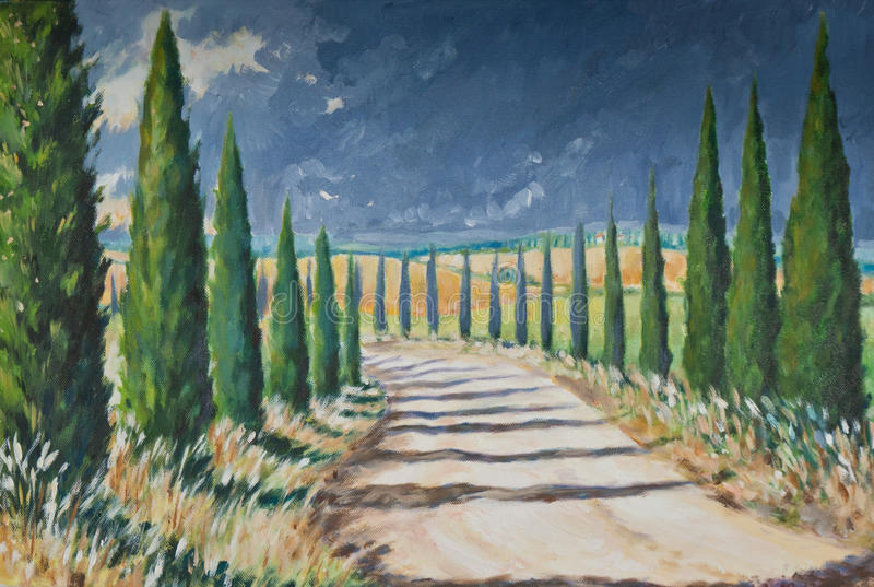 Tuscany. Landscape acrylic painted.Picture I have created myself royalty free illustration