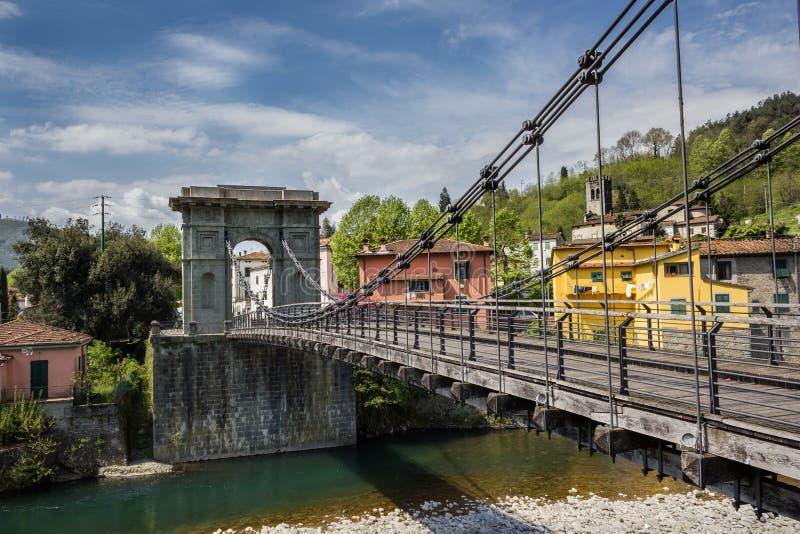 Tuscany, The Chain Bridge In Bagni Di Lucca Stock Photo - Image of ...