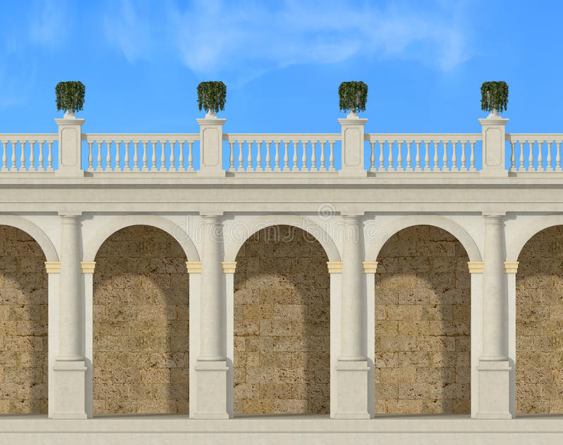 Download Tuscany colonnade stock illustration. Image of strength - 27477255