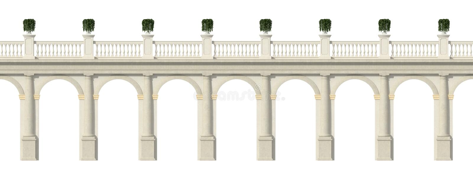 Tuscany colonnade isolated on white. Tuscany colonnade with arches and balustrade isolate on white- rendering stock illustration