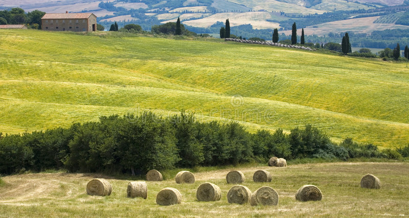 Download Tuscany Countryside With Farm And Hayball Stock Photo - Image: 6352586