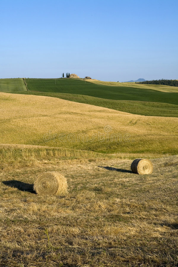 Download TUSCANY Countryside With Farms And Hay-ball Stock Photo - Image of italy, clouds: 6321250