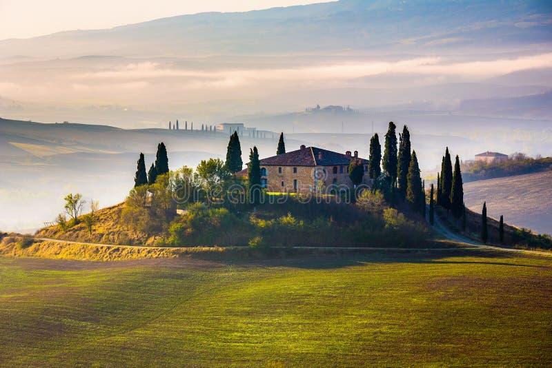 Tuscany at early morning royalty free stock photography