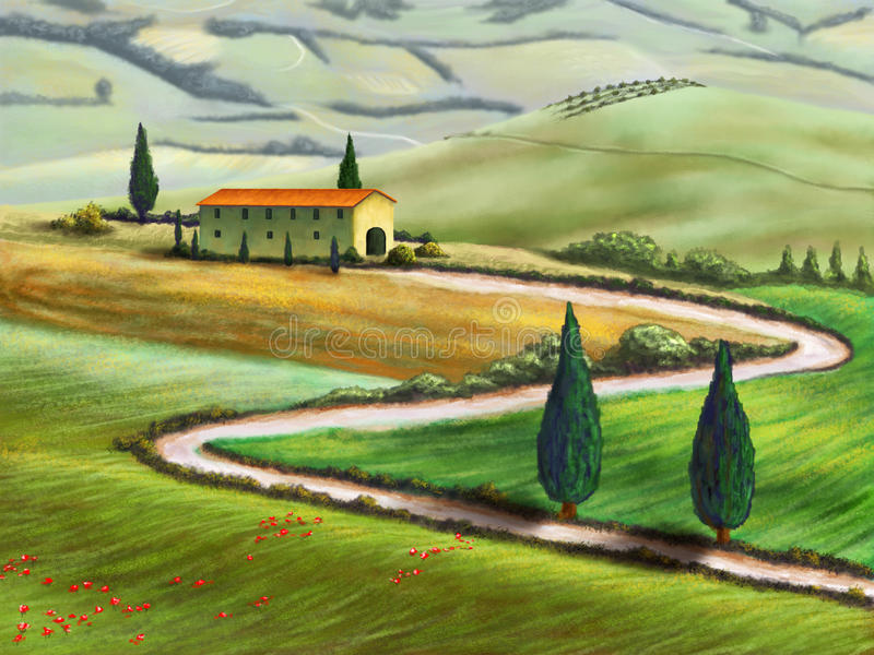 Tuscany farm. Farmland in Tuscany, Italy. Original digital illustration royalty free illustration